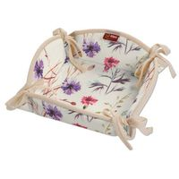Dekoria  koszyk na pieczywo, kolorowe kwiaty na kremowym tle, 20x20 cm, flowers
