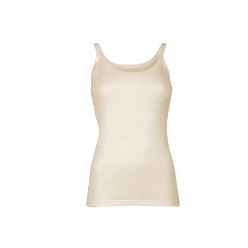 Podkoszulka damska z wełny merynosów (100%) - na wąskich ramiączkach ) - kremowa (prod. DILLING), kolor beżowy
