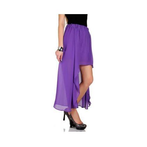 Zwiewna maxi spódnica asymetryczna szyfon fiolet Skopanie