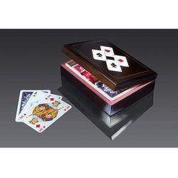 Karty do gry Piatnik 2 talie lux w pudełku drewnianym z asami, AM