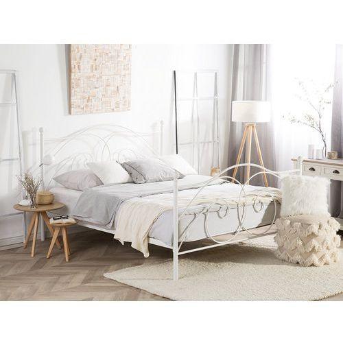 łóżko Białe 180 X 200 Cm Metalowe Ze Stelażem Dinard Beliani