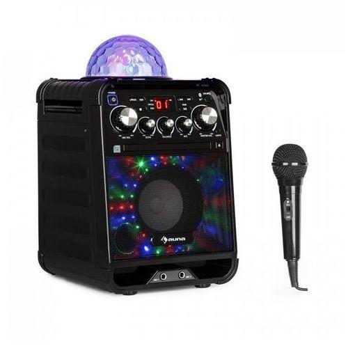 Rockstar led zestaw do karaoke odtwarzacz cd bluetooth usb czarny marki Auna