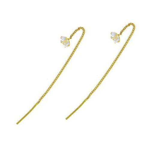 Kolczyki złote z cyrkoniami przeciągane - 0,94 g