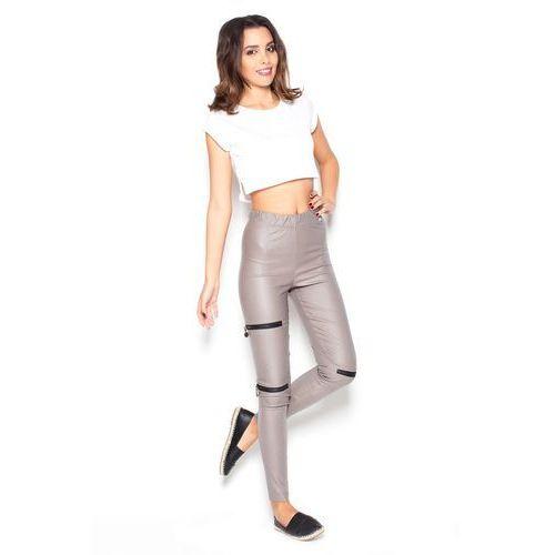 Beżowe dopasowane spodnie z suwakami marki Katrus