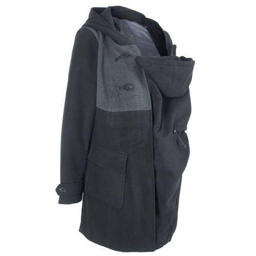 Płaszcz budrysówka ciążowy z wstawką niemowlęcą na nosidełko bonprix czarny, w 7 rozmiarach