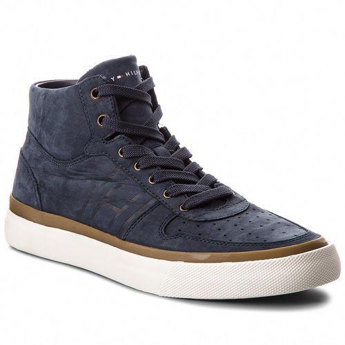6b3e89c1ee123 Tommy Hilfiger Sneakersy TOMMY HILFIGER - Unlined Mid Cut Nubuck Sneaker  FM0FM01628 Midnight 403