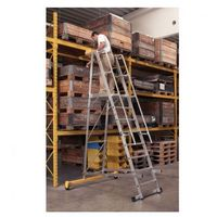 Składana aluminiowa drabina platformowa - 10 stopni, 3,1 m marki B2b partner