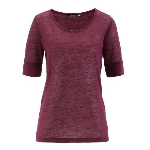 Shirt lniany z krótkim rękawem bonprix jeżynowy