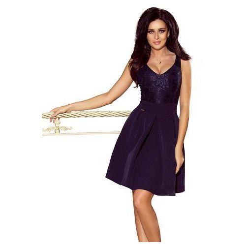 c377d1287e Zobacz ofertę Granatowa koktajlowa rozkloszowana sukienka z koronką