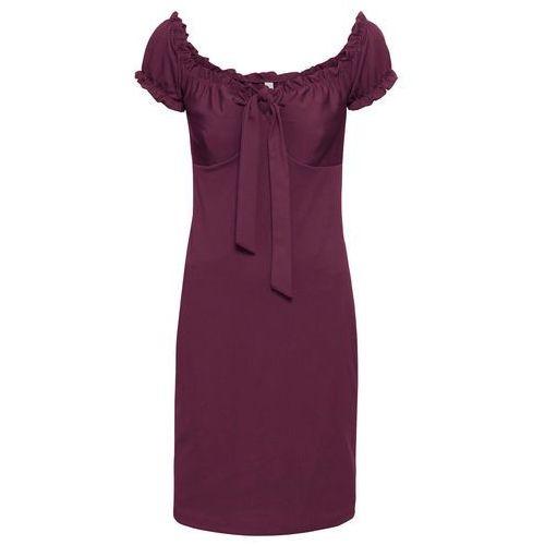"""Sukienka """"carmen"""" z kokardą bonprix jeżynowy, kolor fioletowy"""