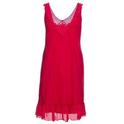 Bonprix Sukienka z koronką w dekolcie czerwień granatu