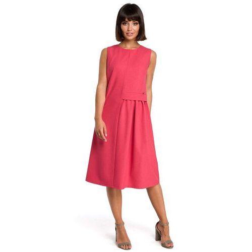 a6e088f519 Zobacz ofertę Różowa luźna letnia sukienka midi z marszczeniami na boku Moe