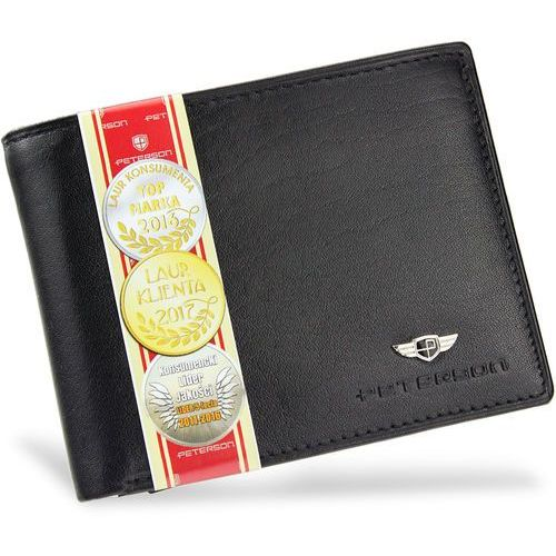 1ed83cc93ad76 portfel męski skórzany z wyciąganą wkładką 335 czarny - czarny marki  Peterson - foto portfel męski