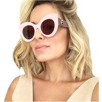 Okulary przeciwsłoneczne damskie kocie oko różowe - różowe