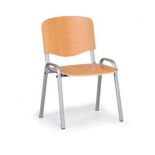 B2b partner Drewniane krzesło iso, buk, kolor konstrucji szary, nośność 120 kg