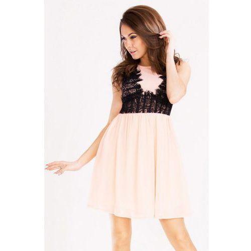 Sukienka - brzoskwiniowy 12004-1 Emamoda