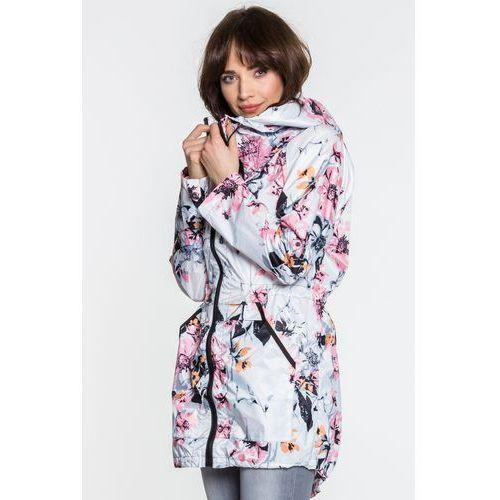 kurtka zimowa damska w kwiaty