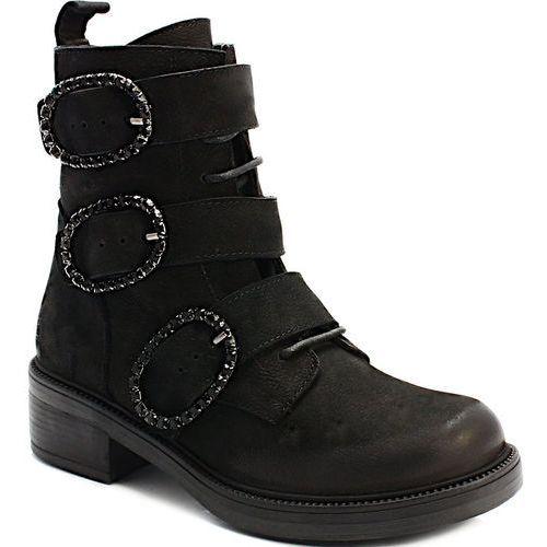 Venezia 0010243 czarne - designerskie workery, skóra