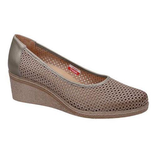 Półbuty AXEL Comfort 1818 Beżowe buty na haluksy na koturnie, kolor beżowy