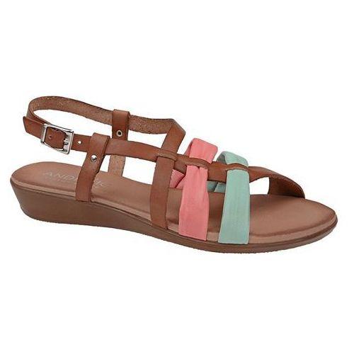 Hiszpańskie sandały 3241 roble coral menta brązowe damskie - brązowy marki Andiamo