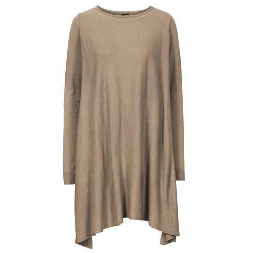 Długi sweter bonprix wielbłądzia wełna melanż