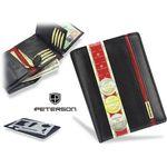 Portfel Męski Peterson Skórzany 339 Czarno Czerwony - Czarny + Czerwony