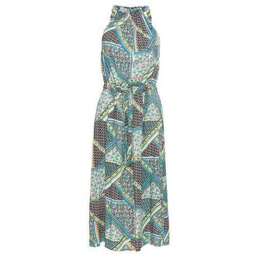 Sukienka z dżerseju ze sznurowaniem bonprix biało-ciemnoniebieski w paski, w 3 rozmiarach