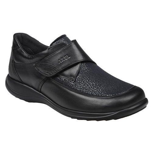 Półbuty AXEL Comfort 1397 Czarne Stretch Tęgość H na rzepy Haluksy - Czarny, kolor czarny