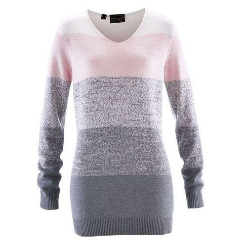 Długi sweter z kaszmirem bonprix pastelowy jasnoróżowy - szary melanż, kolor różowy