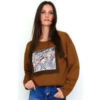 kamelowa bluza oversize z ozdobnym nadrukiem
