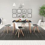 vidaXL Zestaw mebli do jadalni 5 elementów biało-czarny stół i krzesła