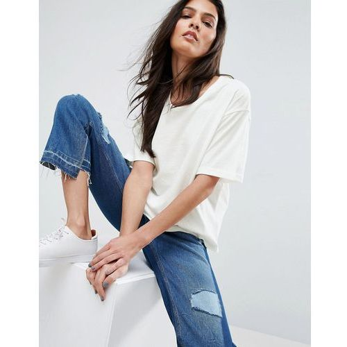 ASOS T-Shirt In Linen Mix Fabric - White, kolor biały