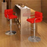 Vidaxl 2 x stołek barowy czerwony z podłokietnikami