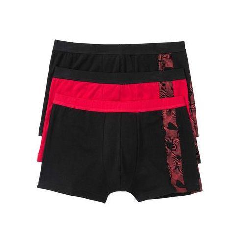 Bokserki bonprix czarno-czerwony, bawełna