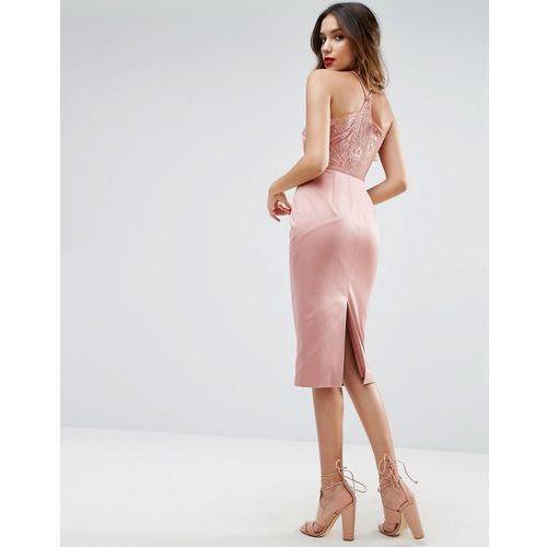 lace insert cami midi pencil dress - pink, Asos