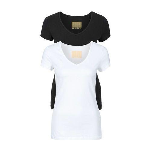 T-shirt damski z dekoltem w serek (2 szt.) bonprix biały + czarny, bawełna