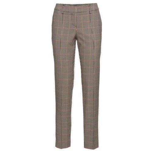 Spodnie biznesowe bonprix beżowo-czerwono-czarny w kratę