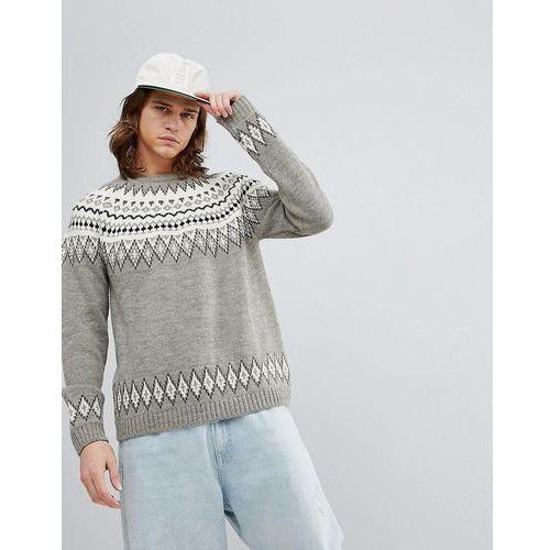 Fairisle wool mix jumper in grey - grey Asos