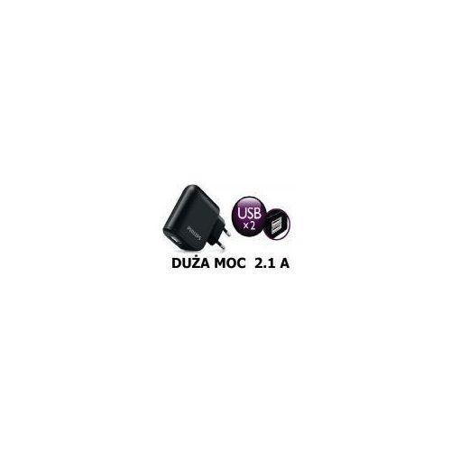 MOCNA ŁADOWARKA SIECIOWA 2X USB PHILIPS DLP2207 2100mAh