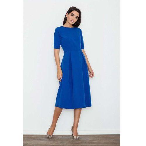 Niebieska Sukienka Elegancka Wizytowa Midi, w 4 rozmiarach