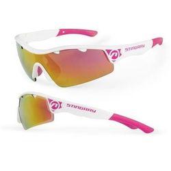 Okulary Rowerowe Stingray biało - różowe soczewki, 2 pary soczewek - biało - różowe