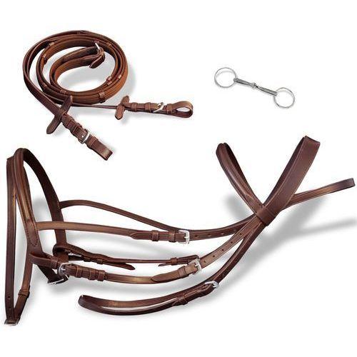 Vidaxl skórzane ogłowie dla dużego konia z wędzidłem i wodzami, brązowe