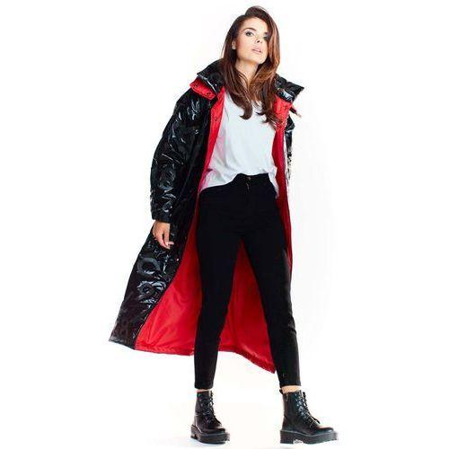 Czarny długi płaszcz z kapturem z wzorzystej tkaniny z połyskiem, kolor czarny