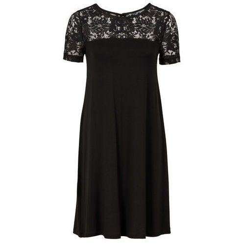 Sukienka z koronkową wstawką bonprix czarny, kolor czarny
