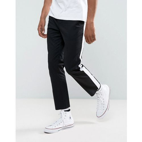 ASOS Slim Cropped Chinos With Side Stripe In Black - Black, chinosy