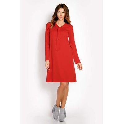 9777e4e440a3c9 suknie sukienki czerwona trapezowa sukienka do pracy z wstawkami z ...