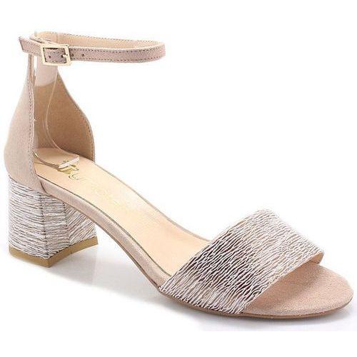 252/a beż - sandały na niskim obcasie - beżowy marki Tymoteo
