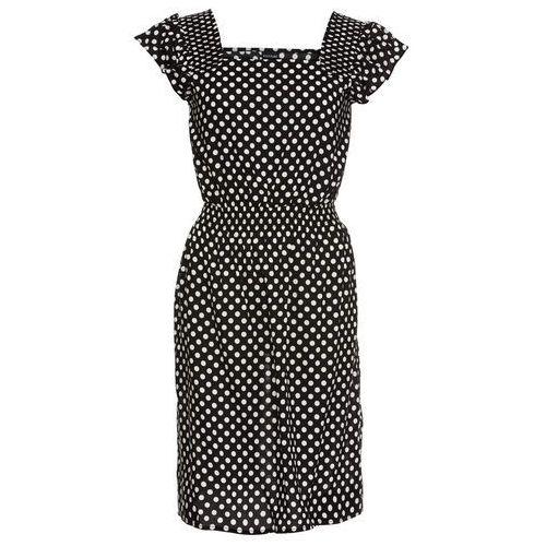 Sukienka z falbanami bonprix czarno-biel wełny w kropki