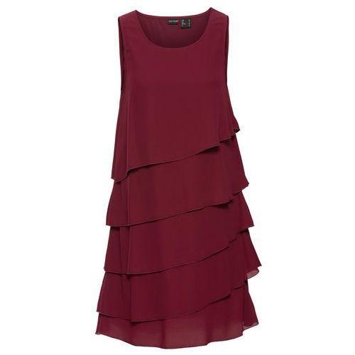 Sukienka z falbanami czerwony klonowy marki Bonprix