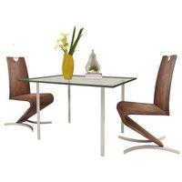 zestaw 2 krzeseł ze sztucznej skóry z podstawą w kształcie litery h marki Vidaxl